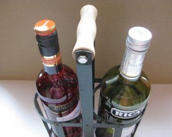 French vintage metal bottle rack, bottle arrier, holds 2 bottles.