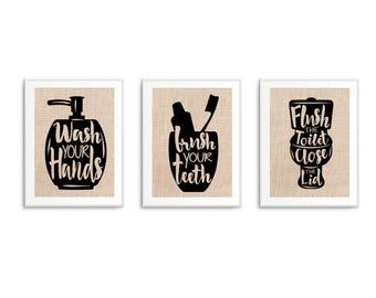 Bathroom Rules, Wash Brush Floss Flush Sign Bathroom Sign, Set of 3 Burlap or Cotton Prints