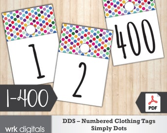Dot Dot Smile Clothing Number Tags, 1-400, Pop-Up Boutique, Fashion Consultant, Simply Dots Design, Direct Sales, INSTANT DOWNLOAD