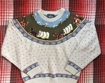 Vintage Western Sweater-Wester Style-Womens Sweater-Pullover Sweater-Woolrich Sweater-vintage Sweater-Size S