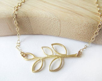 Leaf Necklace Gold Silver Leaf Necklace Nature Jewelry Gift for Her, Dainty Gold Necklace