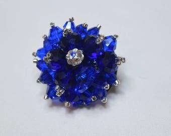 Indigo Blue Glass Earrings Blue Beaded Clips Indigo Blue Beaded Set Beaded Brooch