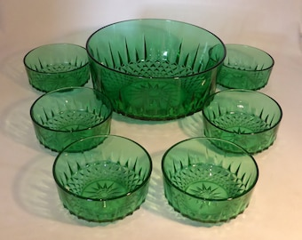 Arcoroc, France green serving dish and dessert dishes set – original from the 1970s
