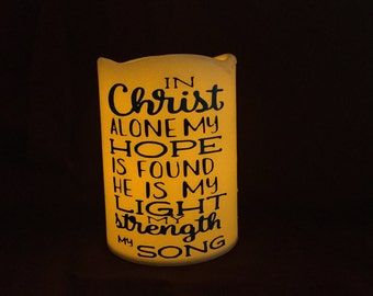 LED Flame-less Candle, Bible Verse Candle, Bedroom Decor, Bathroom Nightlight, Bible Verse Decor