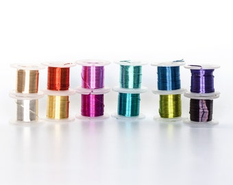 2322_Assorted wire spools 28 gauge, Jewelry wire 0.32mm, Multicolor wire, Coloured copper wire Craft thin wire Silver plated сopper wire_55m