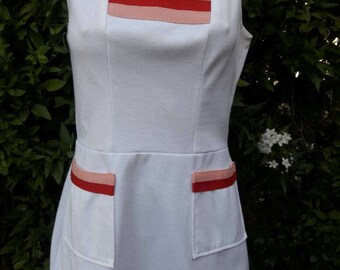 Vintage 1970s Polyester Tennis Dress with Colorful Insert On Front and Pockets Made by Whimsicals Sporting Look.Size 13-14