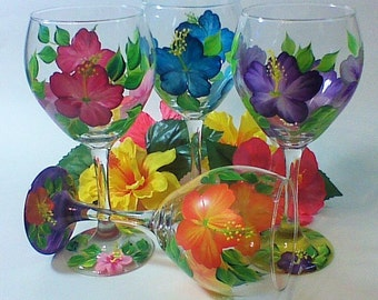 Hand Painted Hibiscus Wine Glasses with colorful options to choose from