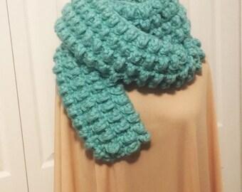 Chunky light blue winter scarf