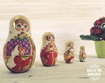 1996 Vintage Russian Fairy Tale Nesting Dolls, Matryoshka Dolls, Gold Leaf Woodburned Russian Art Doll, Princess Maidens. Natural Wood-Tones