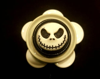 Jack skellington ID badge holder made with clean recycled medicine vial flip caps.