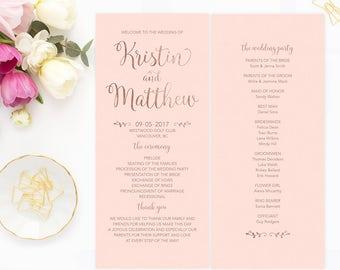 Rose Gold Wedding Program, Printable Program, Pink Rose Gold Wedding Program, Wedding Ceremony Program, Faux Gold Foil Wedding Program RGBW