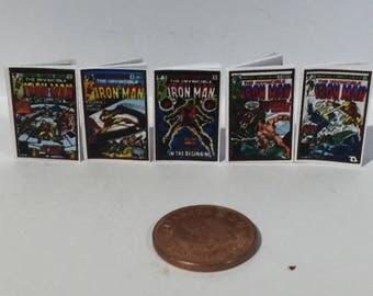 Iron Man Comics for Dolls houses retro style x 5