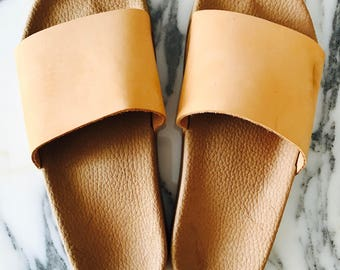 Tobacco brown platform sliders, nubuck pool slides, flat leather slipper sandals,rubber slipers