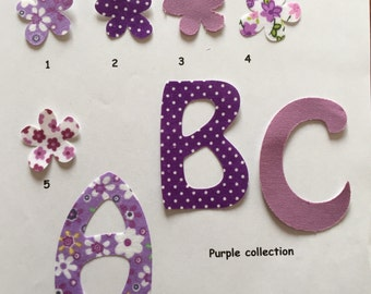 5 iron on fabric letters patches motif for all occasions personalisation all ages 7 cm 3 inches high purple collection