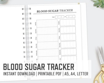 Blood Sugar Tracker / A4 A5 Letter / Diabetes Printable Blood Glucose Tracker Sugar Stats PDF File / Instant Download