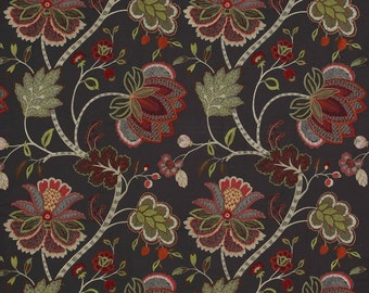 COLEFAX & FOWLER JACOBEAN Baptista Embroidered Linen Fabric 10 Yards Persimmons