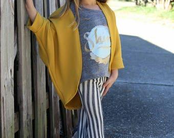 Mustard Cardigan, handmade cardigan, layering top, girl fashion