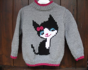 sweater girl cat pattern