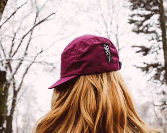 Cycling cap 5 panel burgundy