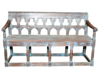 Raj Blue Mudejar Bench, Bench, Wood Bench, Wooden Bench, Rustic Bench, Bench With Back