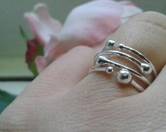 Silver ring 925% hammered raindrops, adjustable range