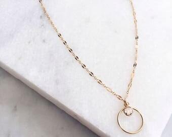 Hoop Charm, Swarovski Pendant, 14 KT Gold Filled, Delicate Necklace, Hoop Necklace, Layered Necklace, Boho Necklace, Swarovski Charm