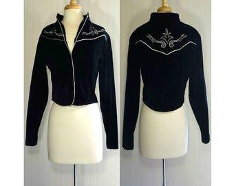 Women's bolero, black bolero, Western jacket, vintage bolero, Country Western jacket, Western bolero, rodeo jacket, Wrangler velvet jacket