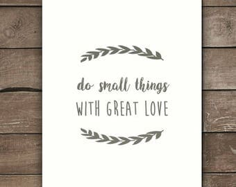 Do small things with great love, wall print, mother teresa, farmhouse style