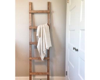 Rustic Wooden Blanket Ladder, Farmhouse Decor, Storage Ladder, Quikt Ladder, Towel Bathroom Decor, Nursery Decor, Wall Decor