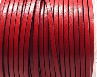 Leather flat red 3mm by 1 metre (1.09 yard 3.28 feet)