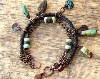 Multi gemstone bracelet boho bracelet boho jewelry raw bracelet bohemian bracelet rustic jewelry raw stone jewelry artisan jewelry