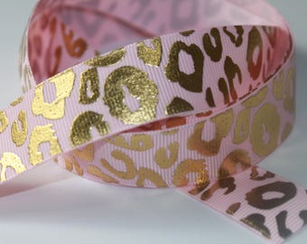 """7/8"""" inch Gold Foil Metallic Leopard Animal Print on Light Pastel Pink -  Printed Grosgrain Ribbon for Hair Bow"""