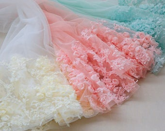 Width 26.77 inches single side chiffon lace trim,flowers embroidered lace,floral lace trim for bridal dress,trim lace(95-220)