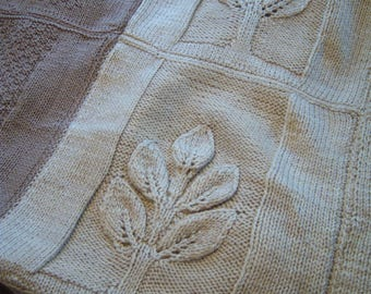 """knitted afghan,tree and leaf pattern,twin size afghan,69"""" x 51"""",light brown and oatmeal color,acrylic yarn,throw,home decor,nature motif"""