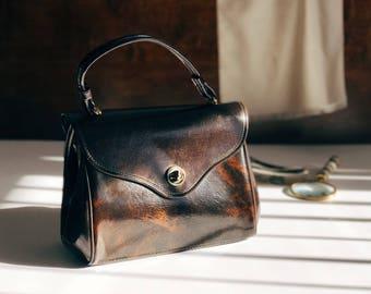 60's Box Purse / Turn Lock Purse / Brown Purse / Vinyl Purse / Vintage Top Handle Purse / Ladylike Handbag / Faux Leather Purse / 60's Purse