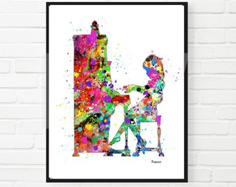 Piano Art Printable  Watercolor Art Music Art Home Decor Music Lover Piano Player Gift Music Room Little girl room  Art