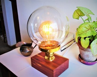 New:  Stunning red cedar table lamp. Glass globe, brass shade holder and an IN-LINE DIMMER switch