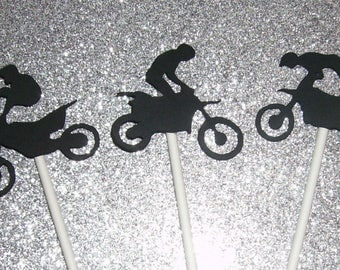 12 Gender Reveal Boy Dirt Bike Cupcake Toppers (239C)