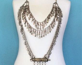 Tribal-Chain-Bodyjewelry, Kuchi Tribal Breast-Necklace, Nomad Jewelry, Ethnic Jewelry, Body-Necklace, Bodychain