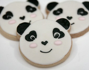 "1 Dozen Decorative 3.5"" Shortbread Panda Cookies"