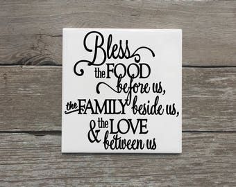 """Bless the Food Before Us Kitchen Decor Tile, Kitchen Sign, 6x6"""" Kitchen Decorative Tile, Kitchen Signs, Housewarming Gifts under 20, Tiles"""