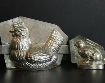 Chocolate molds, French vintage. Easter Hen and Chick chocolate molds.Very good condition for these molds, complete with clips to close them