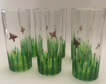 In the Garden Glasses, Set of 6, drinking glasses, handpainted glasses, butterflies, dragonflies, tumblers, water glasses, Wedding Gift