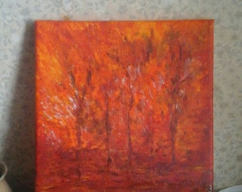 Autumn  colours . Oringinal acrylic painting on small canvass.