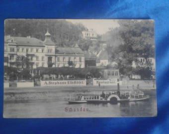 Vintage German 1900's Postcard, A.Stephan's Elb-Hotel, Schandau, Used