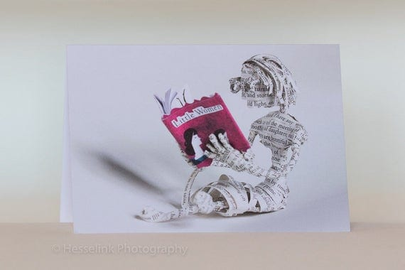 Book Sculpture Greeting Card, Blank Card, Little Women