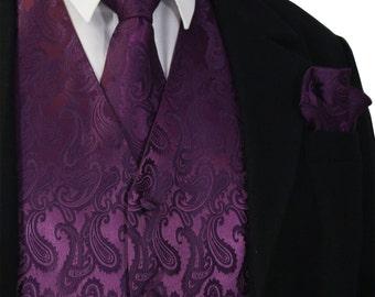 Dark Purple XS to 6XL Paisley Tuxedo Suit Dress Vest Waistcoat & Neck tie And Hankie Set wedding