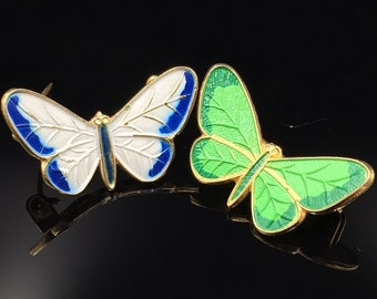 Vintage Pair of Enamel Butterfly Scatter Pins - 1970s White & Blue, Green Spring Time Butterflies
