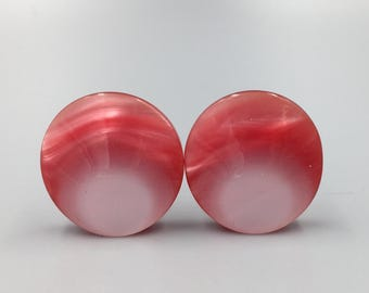 Red Moonglow Lucite Round Earrings - Vintage 1950s Pin Up Earrings, Pink Red Lustrous Clip On Earrings