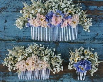 Meadow Pastels Dried Flower Hair Comb